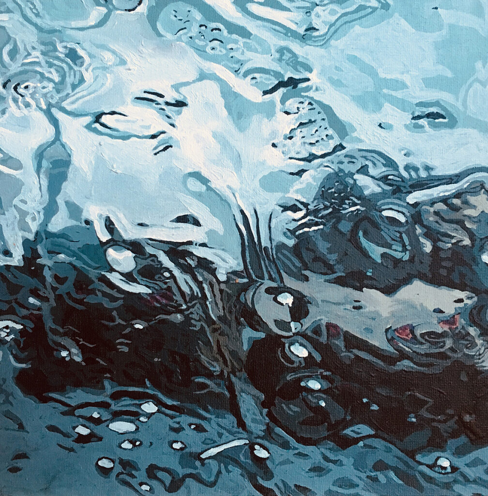 Painting of rain on a window.