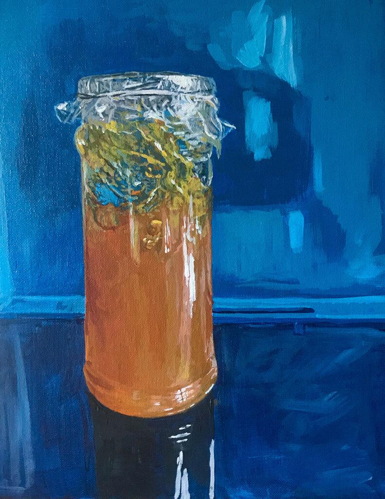 Painting of marmalade jar